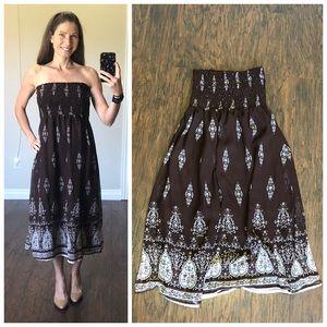 ⭐️Brown strapless maxi dress